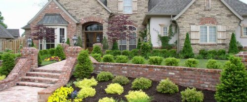 beautiful front yard with stairs.