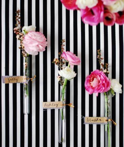 DIY Floral glass vial place cards for wedding