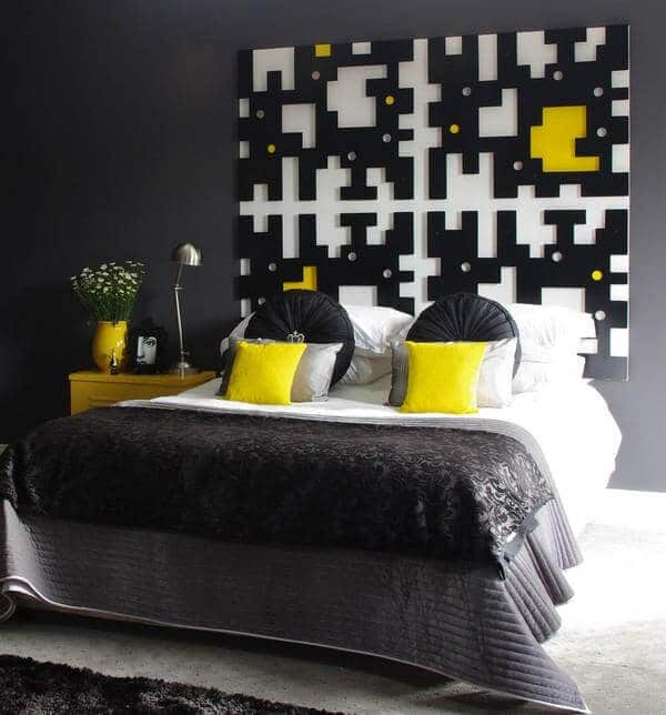 black and yellow bedroom interior design
