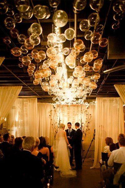diy wedding bubble chandelier