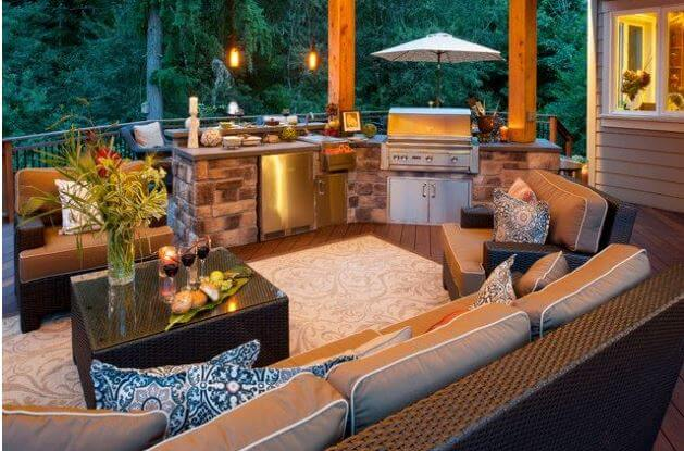 stylish outdoors kitchen
