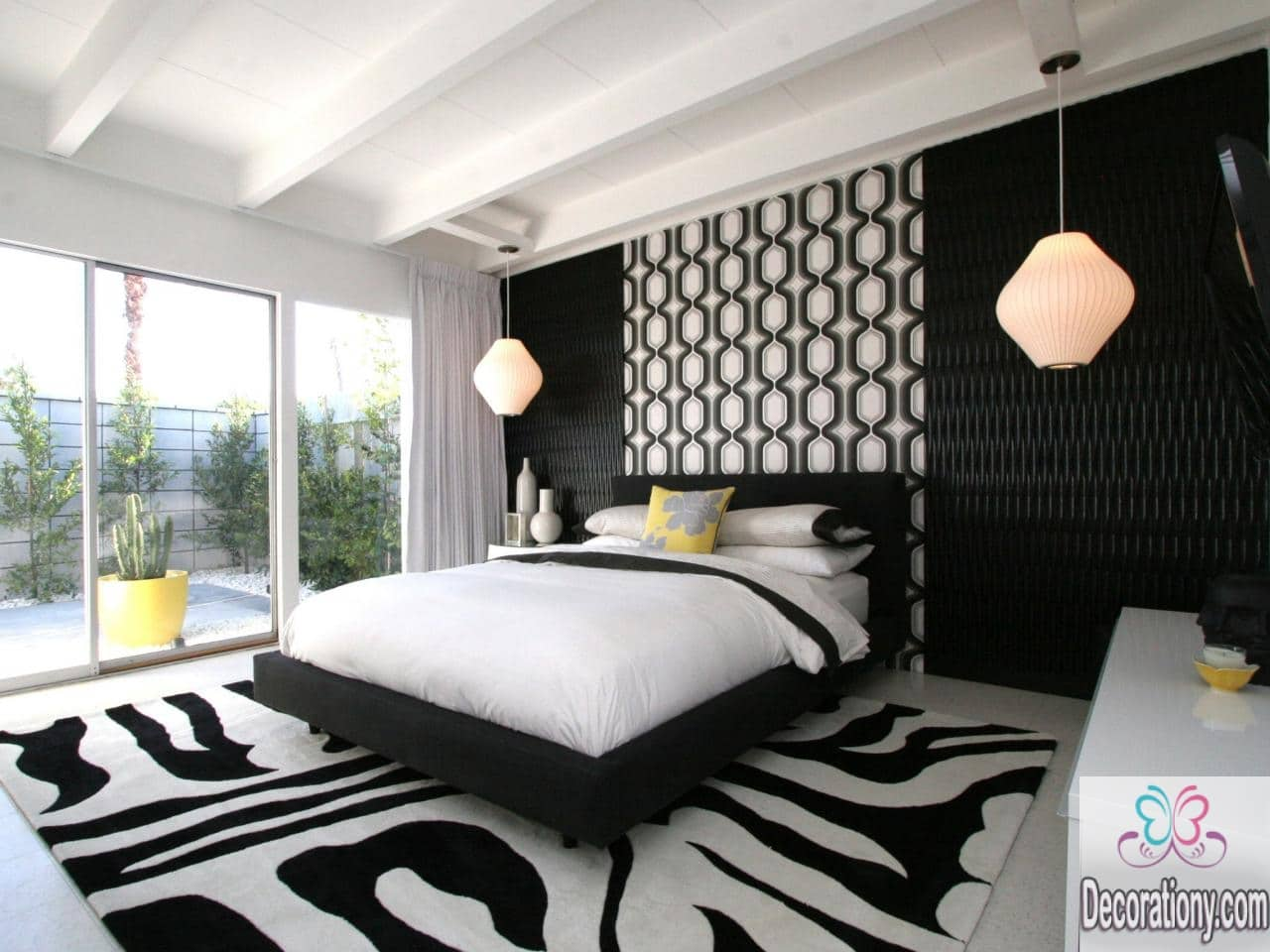 35 affordable black and white bedroom ideas bedroom Bedroom design lighting