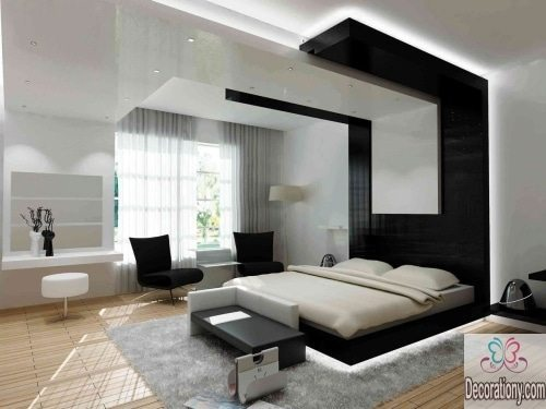 Black and white color schemes for bedroom