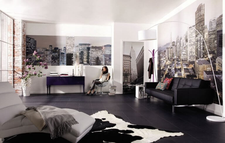City themed living room decor ideas for walls