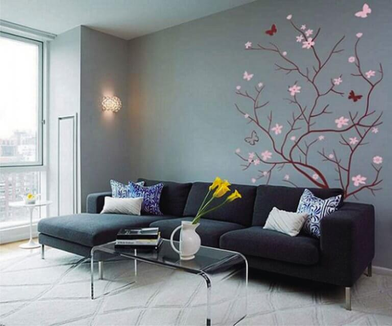 Cute living room wall with wall stickers