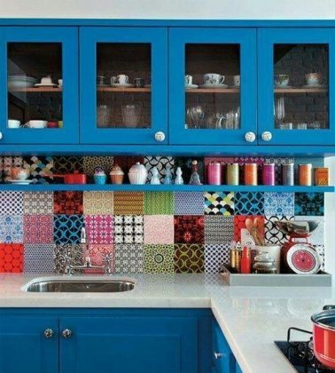 Blue colorful kitchen