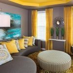 Yellow and gray living room color pallette