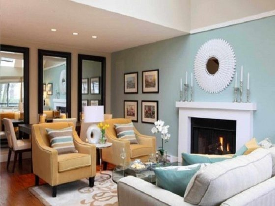 green blue wall color for living room color scheme 2017