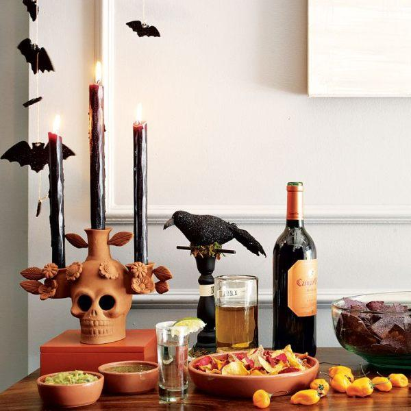 Halloween party table with scary candles
