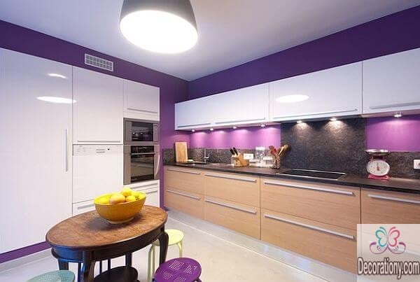 violet and white kitchen color ideas