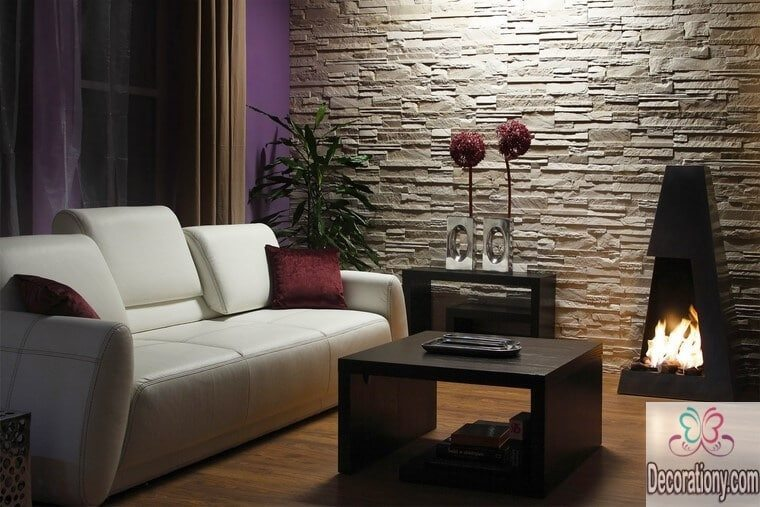 Living room decorating walls with stones