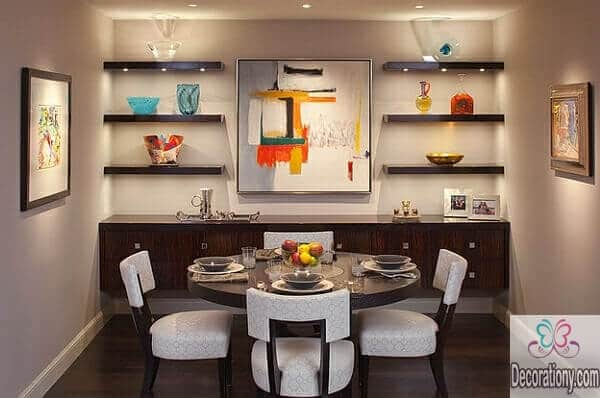 luxurious-small-dining-room-rounded-table-armless-chairs