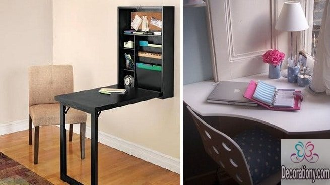 modern fold down desks for small spaces