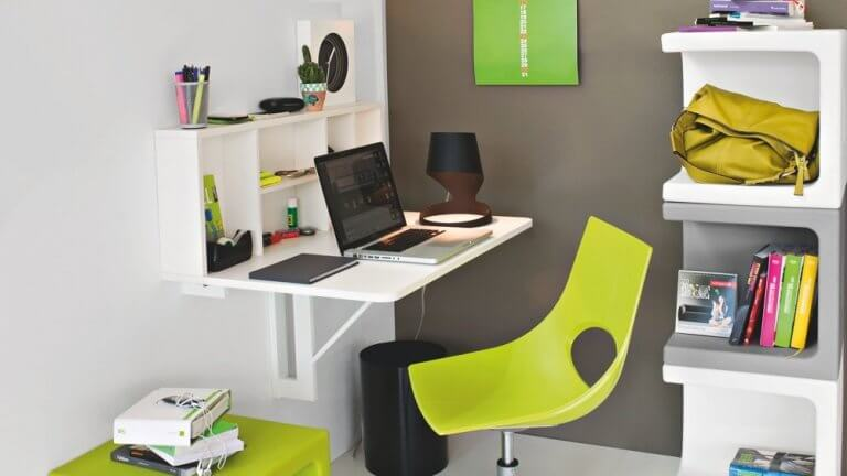 Modern wall-mounted desk for small space