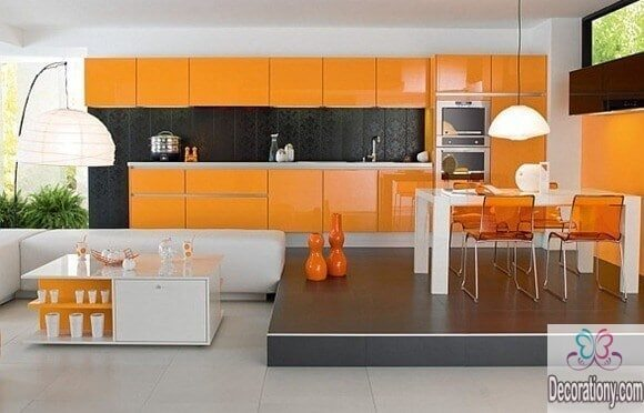 kitchen paint ideas in orange color