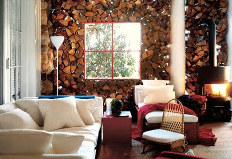 Rustic living room wooden wall