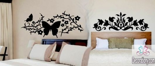 Simple bedroom wall decals design ideas