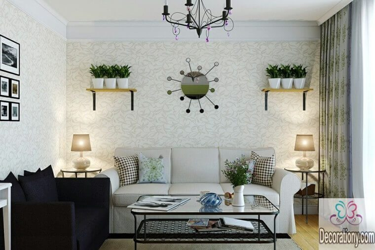Living room wall decor ideas by using mirrors and floating shelves