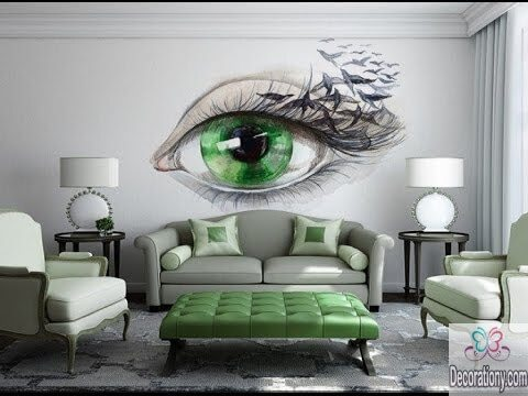 Unique living room wall decor ideas big green eye sticker