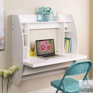 Small wall-mounted desks with shelves