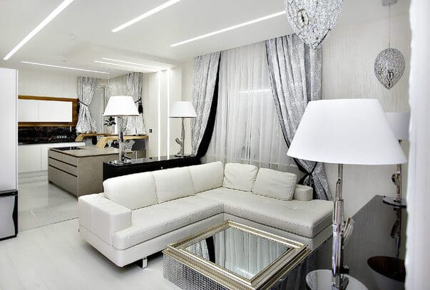 white apartment living rooms