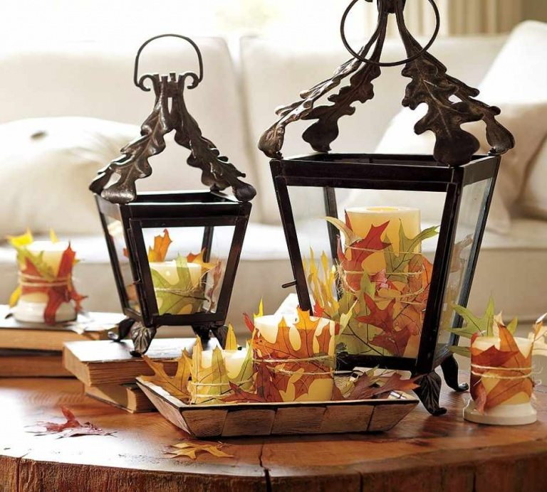 Fall decorations 2016 with using old lamps