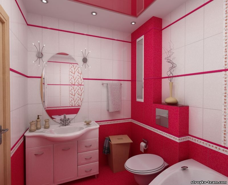 Pink Bathroom color ideas & schems 2017