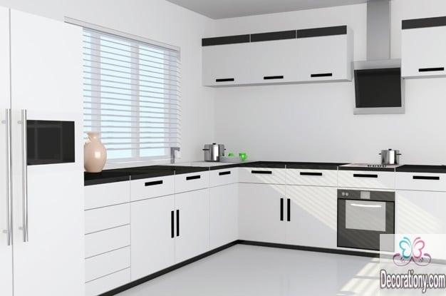 White L-shaped Kitchen Design Ideas