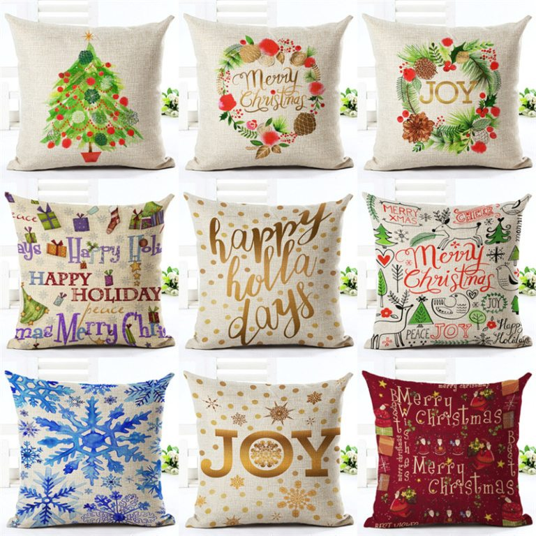 colorful christmas pillows covers