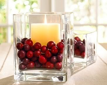 cranberry christmas centerpieces with candles