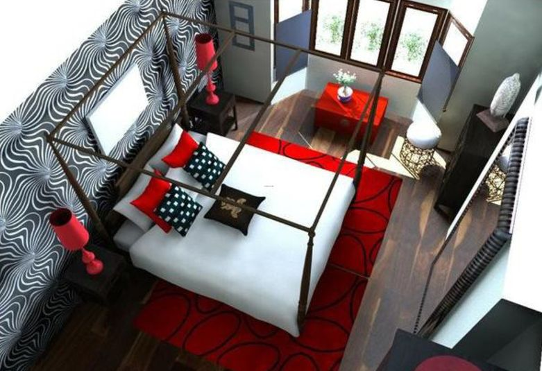 Bedroom Color Schemes red & white