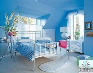 blue bedroom feature wall colors