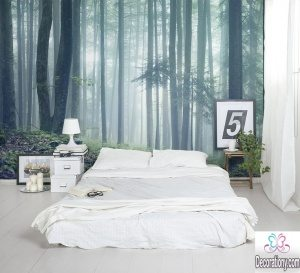 woodland bedroom feature wall ideas
