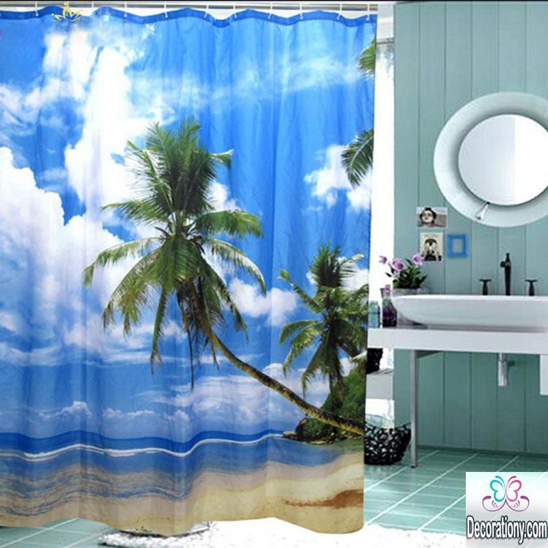 beach bathroom curtains 2017