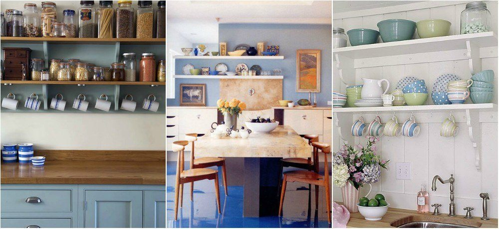 Open shelving kitchen vanity