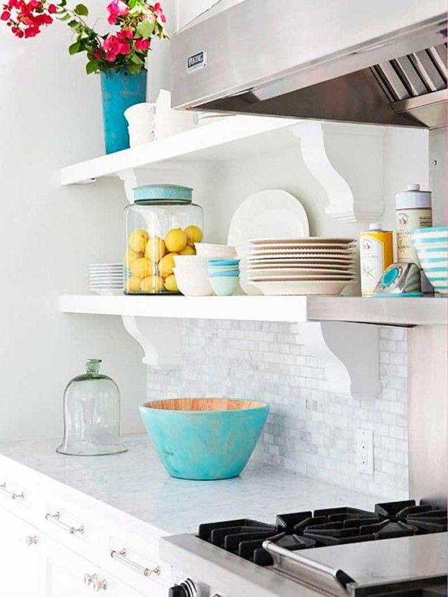 Colorful open shelving kitchen shelves