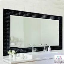 Black framed vanity bathroom mirror