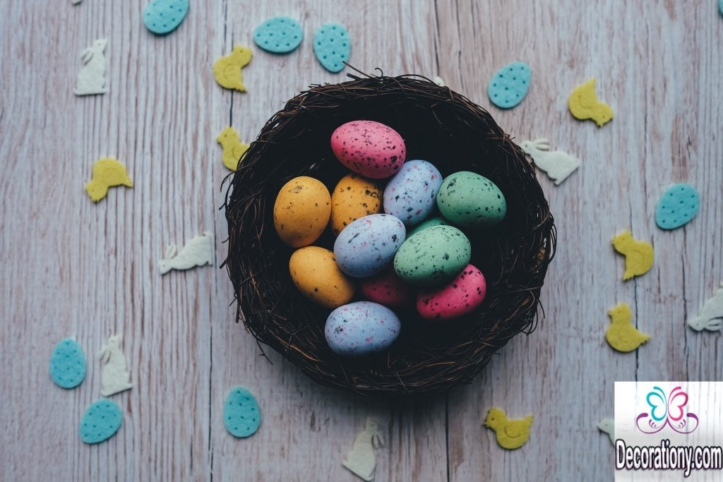 Colored eggs easter decorations