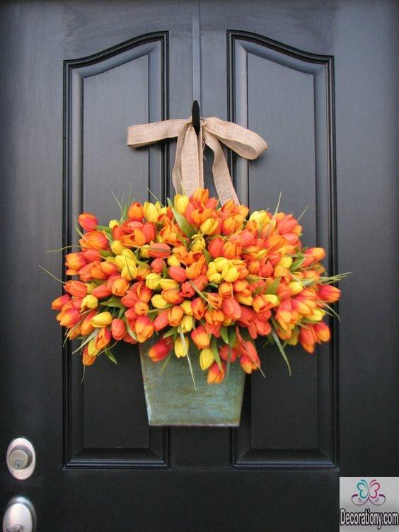 Lovely easter decorations tulip door wreath