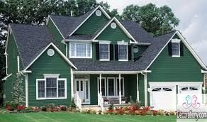 Greenish blue exterior house color scheme