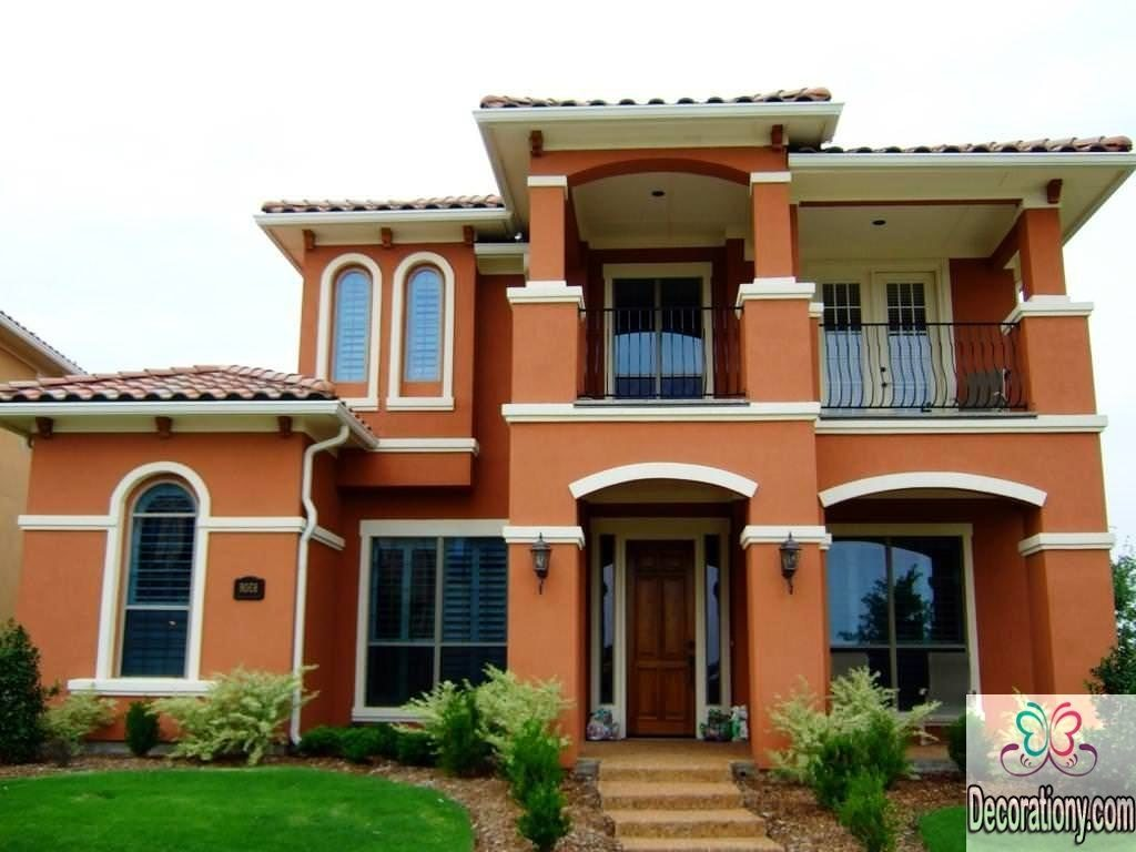 Exterior house color orange scheme for huge houses