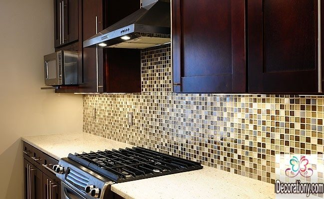 Kitchen Appealing Brown Beige Glass Metal Mix kitchen Backsplash ideas