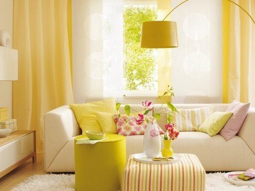 Primrose yellow wall paint with white furniture 2017 spring colors
