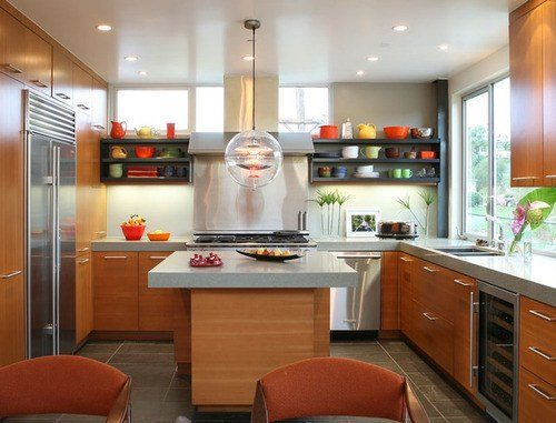 open shelving kitchen colorful design