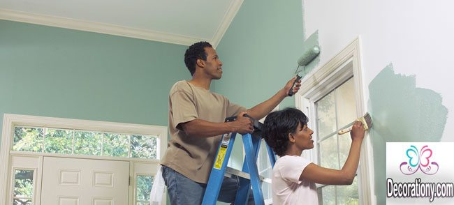 Get the help of your partner learn how to paint a room