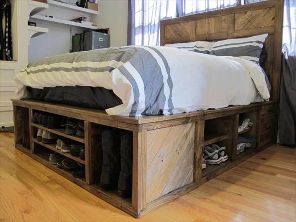 Shoes storage pallet bed