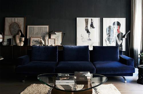 Lapis blue with black wall paint