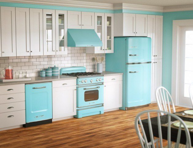 retro kitchen colorful cabinets