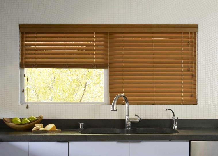 Kitchen windows wooden blinds