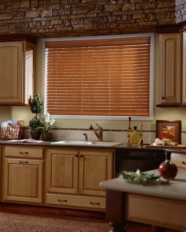 Cozy wooden kitchen windows